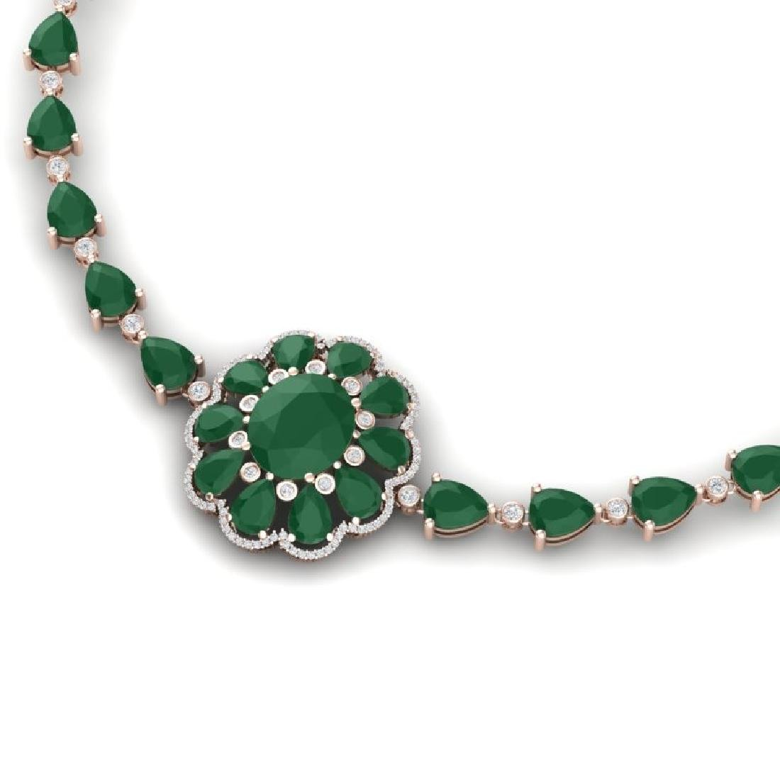 78.98 CTW Royalty Emerald & VS Diamond Necklace 18K