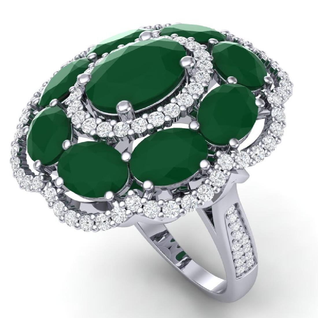 14.4 CTW Royalty Designer Emerald & VS Diamond Ring 18K