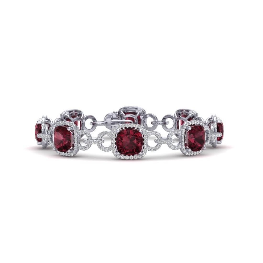 30 CTW Garnet & VS/SI Diamond Bracelet 14K White Gold