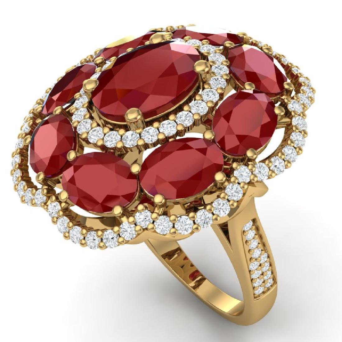 14.4 CTW Royalty Designer Ruby & VS Diamond Ring 18K