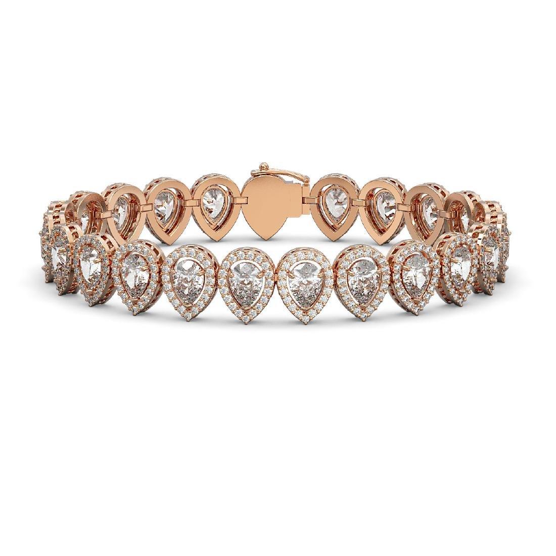 18.55 CTW Pear Diamond Designer Bracelet 18K Rose Gold