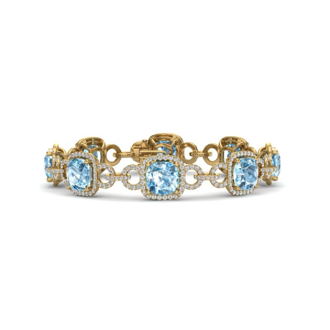 30 CTW Topaz & VS/SI Diamond Bracelet 14K Yellow Gold