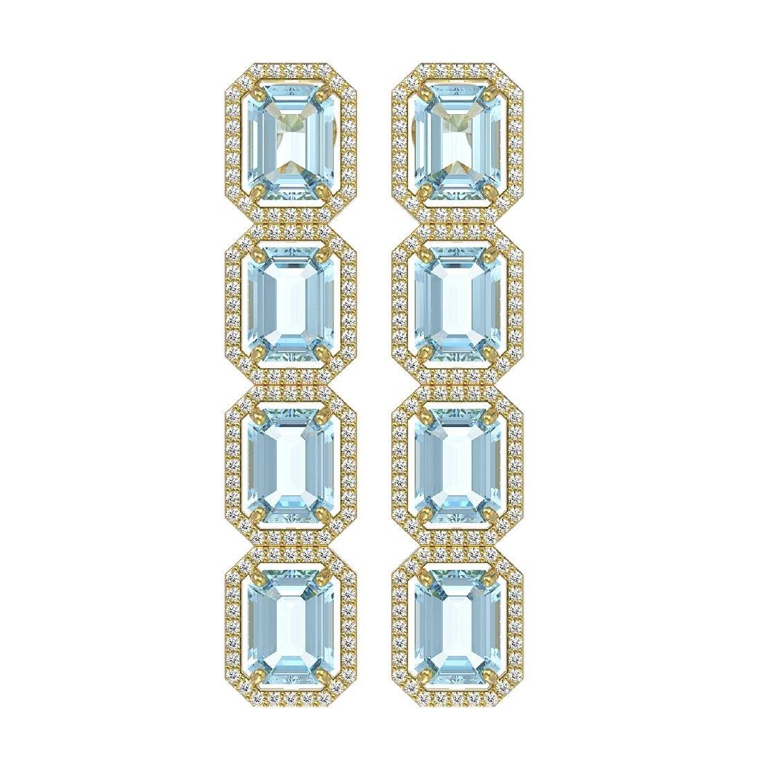 19.49 CTW Aquamarine & Diamond Halo Earrings 10K Yellow