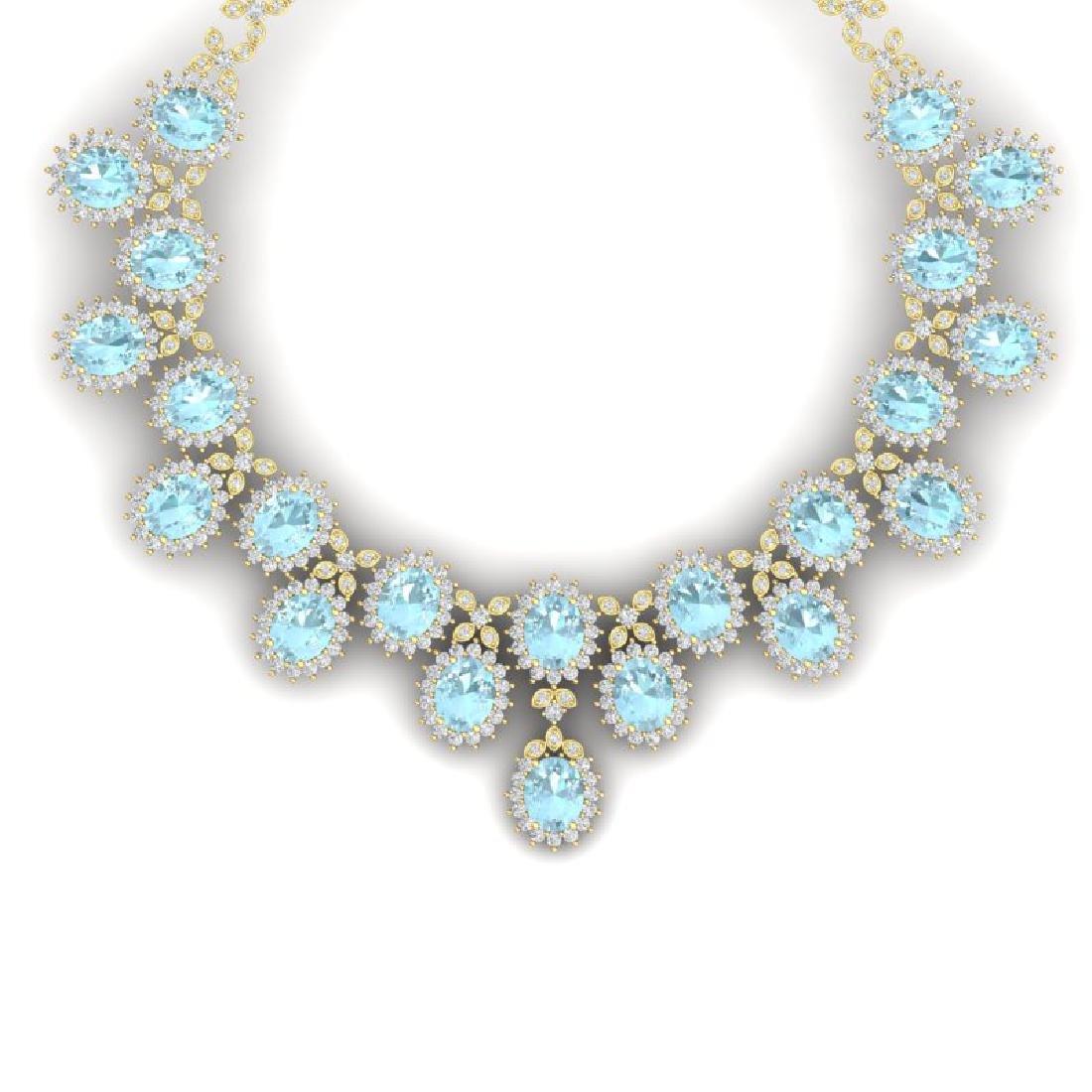 83 CTW Royalty Sky Topaz & VS Diamond Necklace 18K