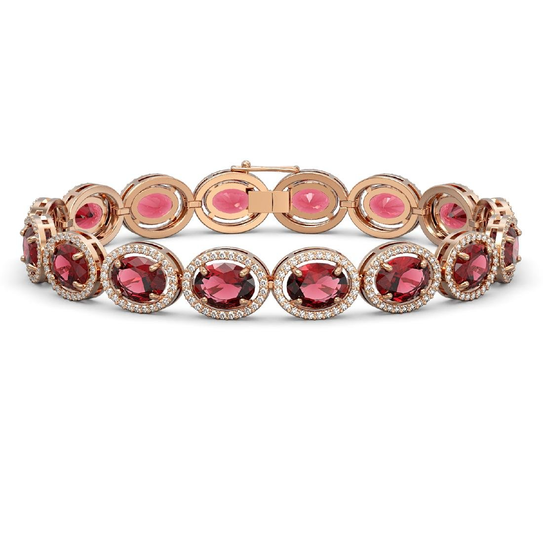 23.6 CTW Tourmaline & Diamond Halo Bracelet 10K Rose
