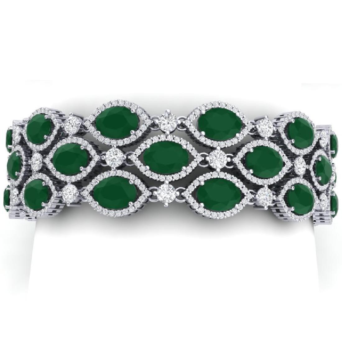 47.84 CTW Royalty Emerald & VS Diamond Bracelet 18K