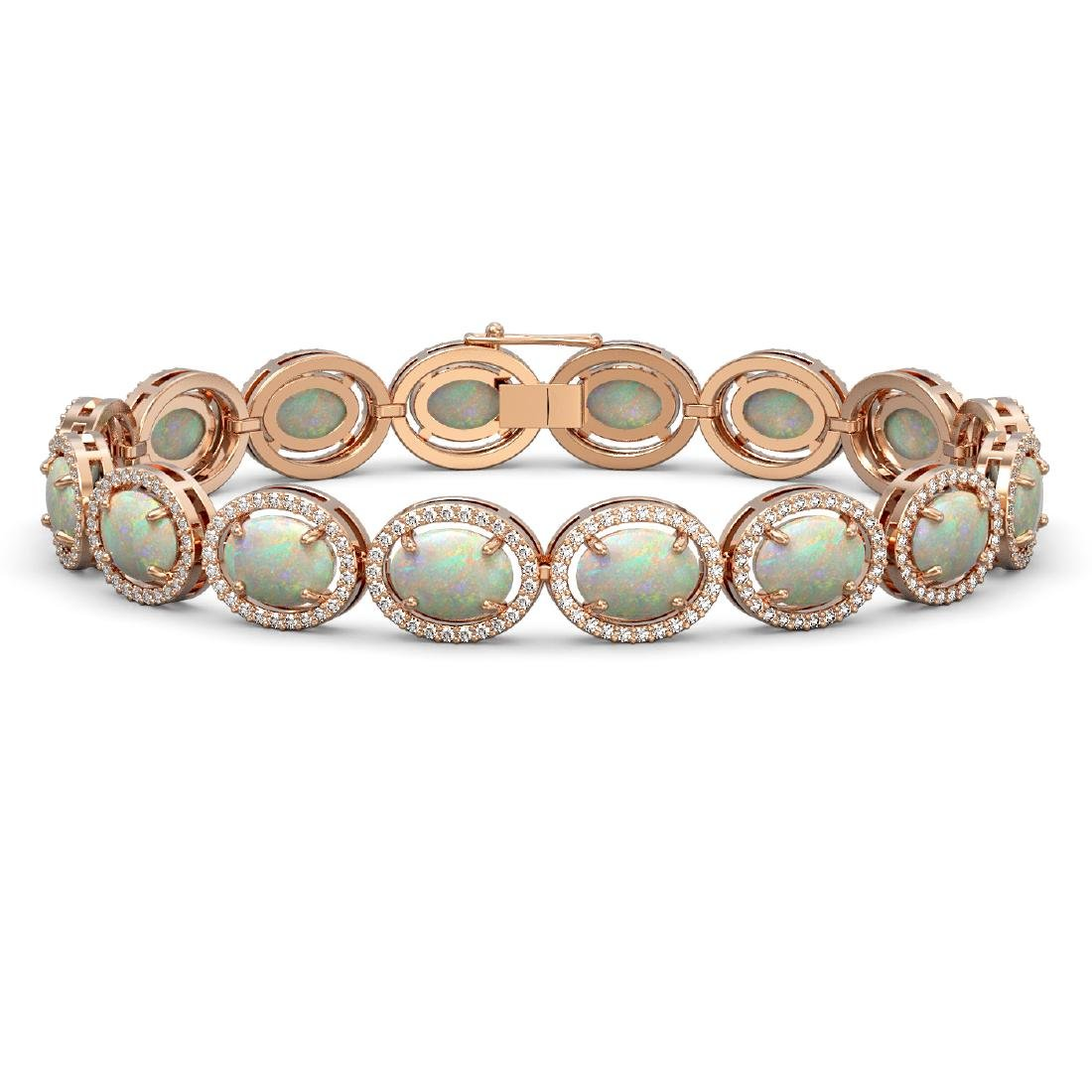 18.33 CTW Opal & Diamond Halo Bracelet 10K Rose Gold