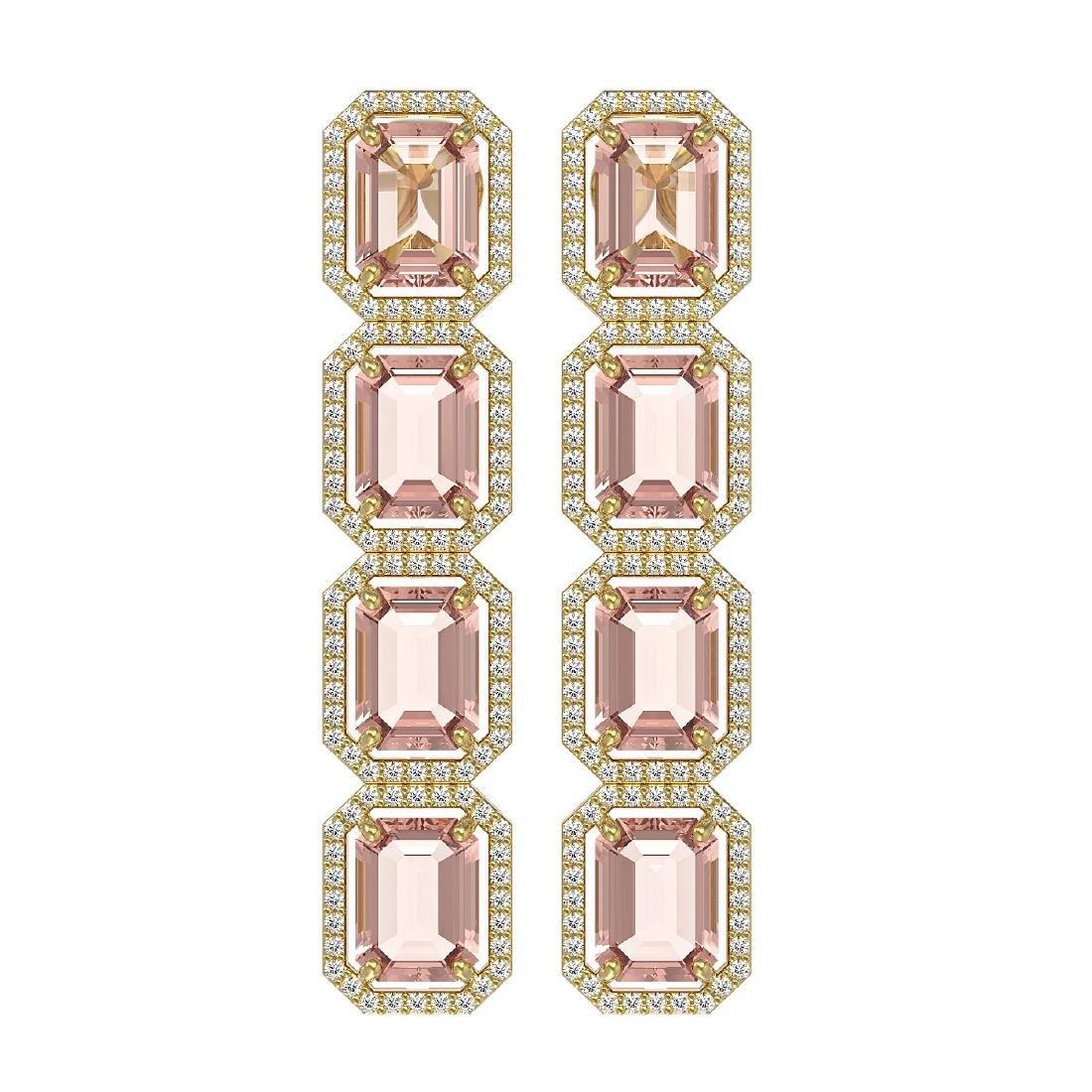 19.81 CTW Morganite & Diamond Halo Earrings 10K Yellow
