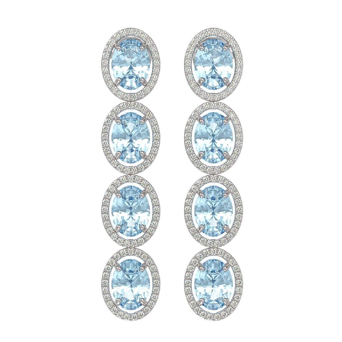 11.72 CTW Aquamarine & Diamond Halo Earrings 10K White