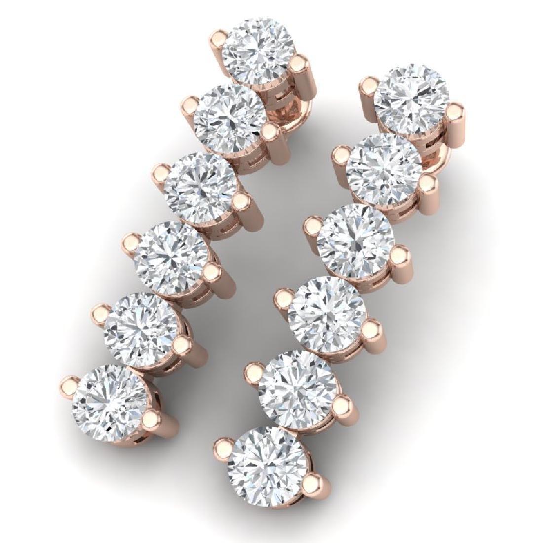 3 CTW Certified VS/SI Diamond Earrings 18K Rose Gold