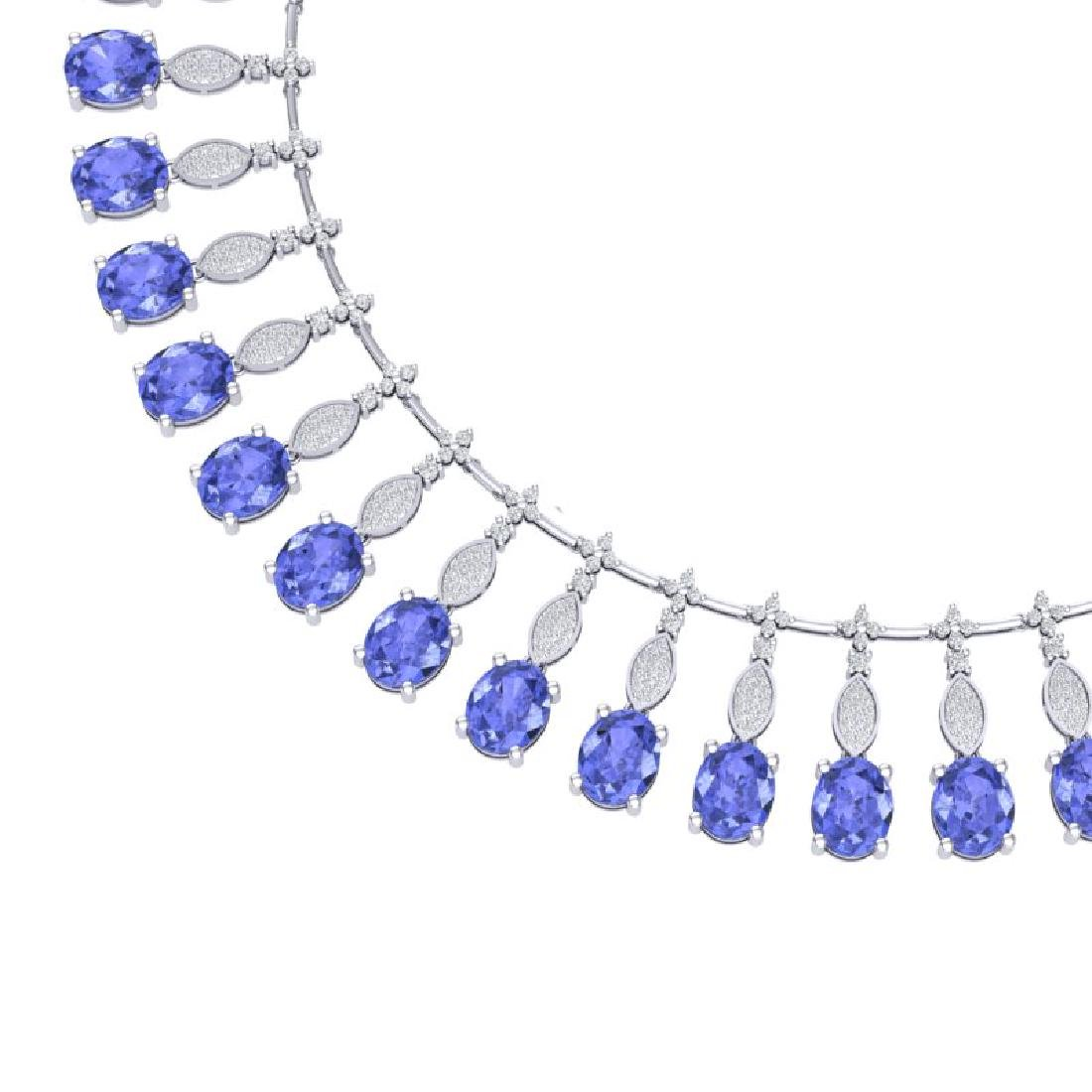 57.15 CTW Royalty Tanzanite & VS Diamond Necklace 18K