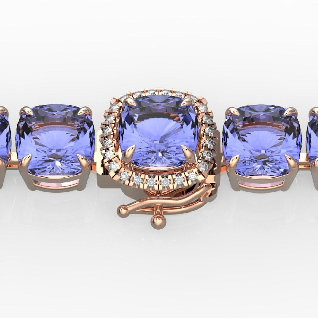 40 CTW Tanzanite & Pave VS/SI Diamond Bracelet 14K Rose