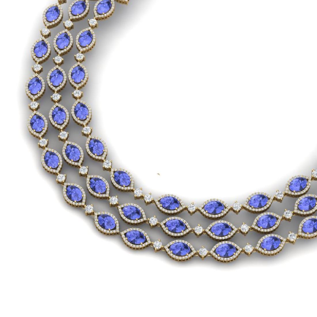 79.33 CTW Royalty Tanzanite & VS Diamond Necklace 18K
