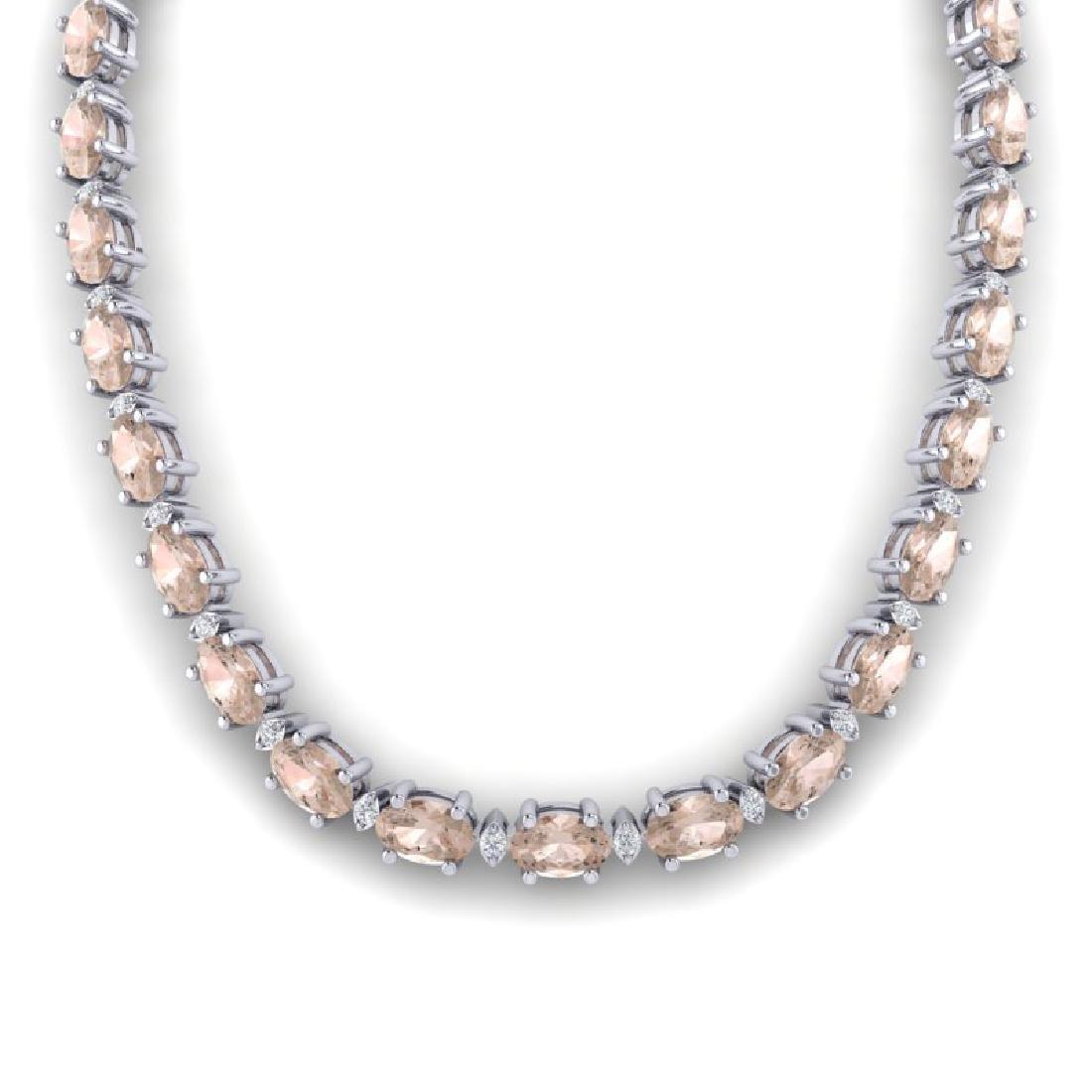 49.85 CTW Morganite & VS/SI Certified Diamond Necklace