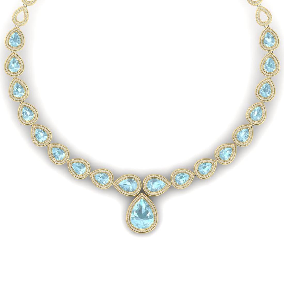 54 CTW Royalty Sky Topaz & VS Diamond Necklace 18K