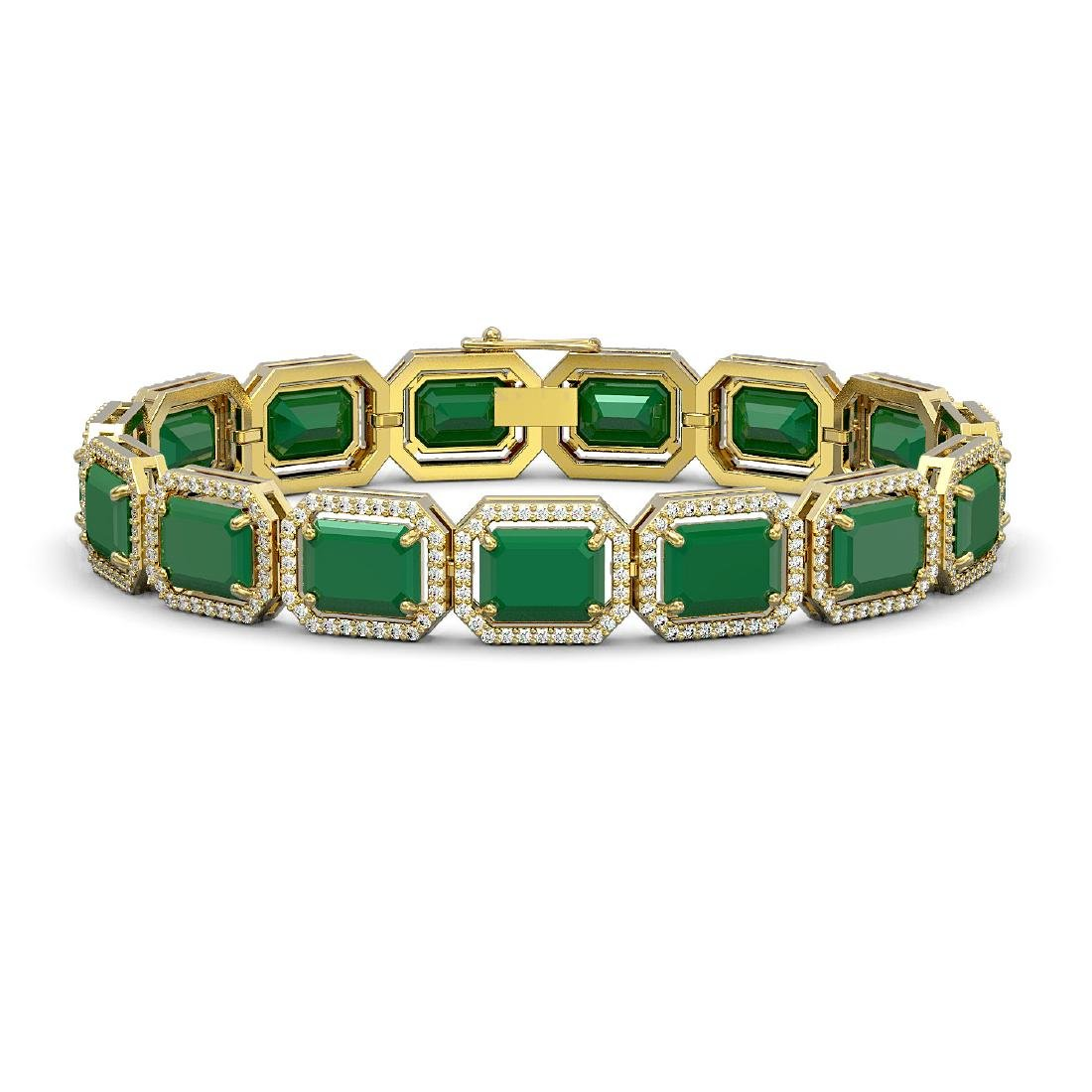 38.61 CTW Emerald & Diamond Halo Bracelet 10K Yellow