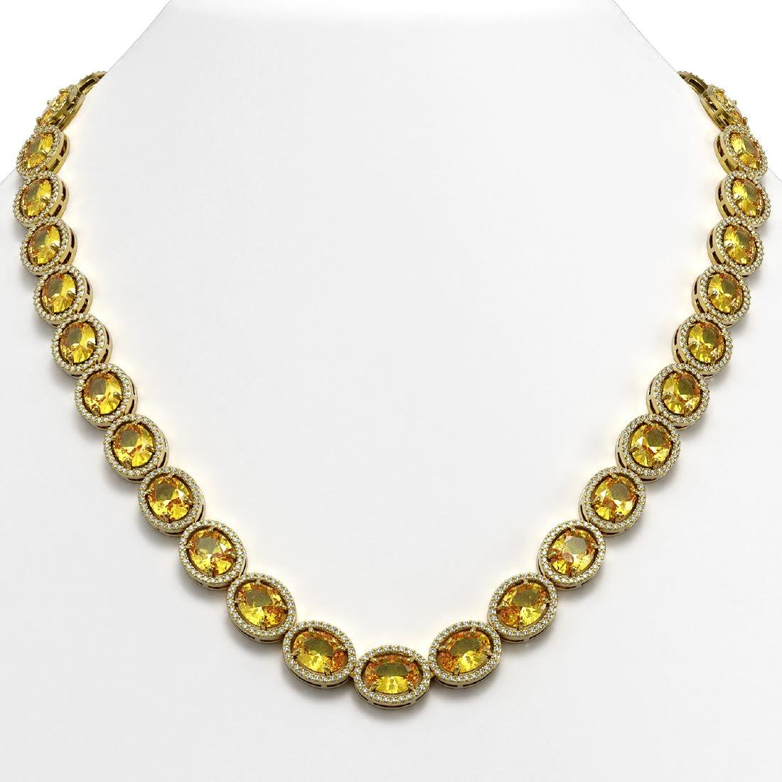 58.27 CTW Fancy Citrine & Diamond Halo Necklace 10K