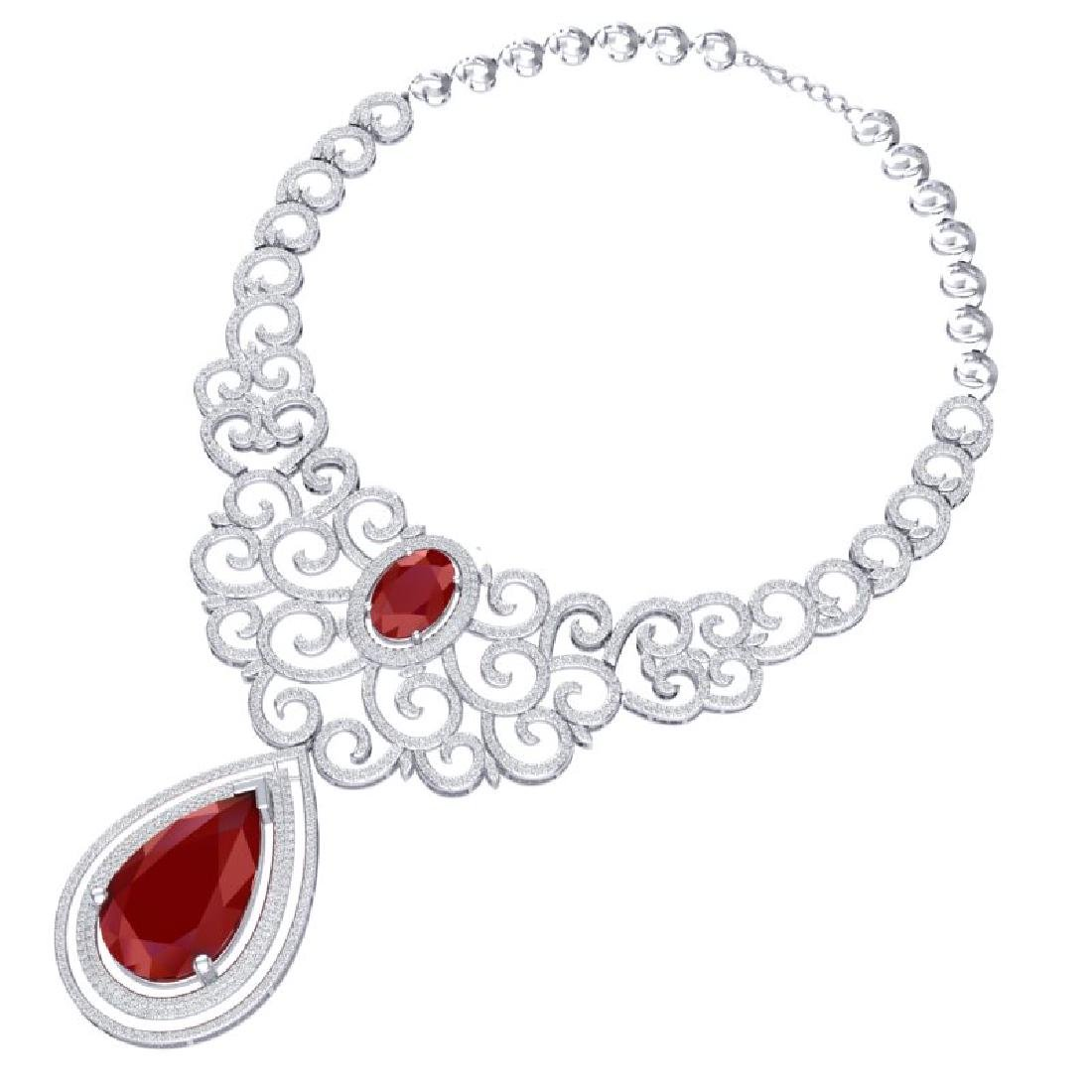 87.52 CTW Royalty Ruby & VS Diamond Necklace 18K White - 2