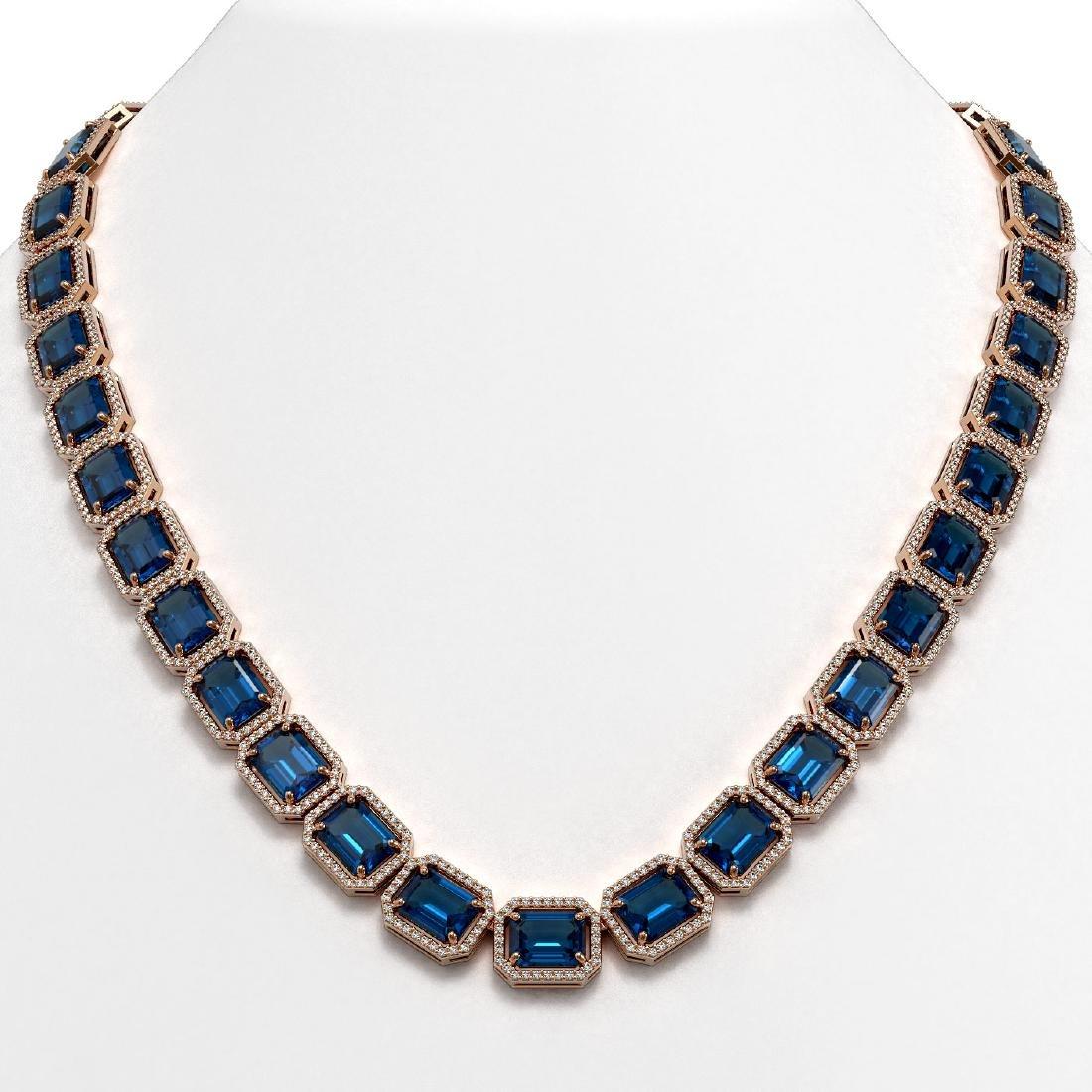 79.66 CTW London Topaz & Diamond Halo Necklace 10K Rose