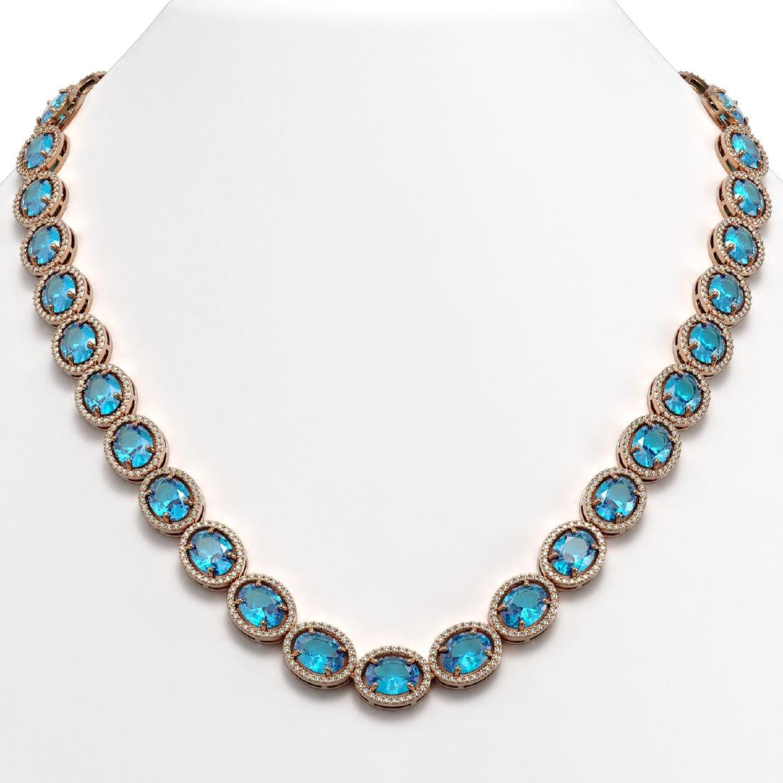 68.17 CTW Swiss Topaz & Diamond Halo Necklace 10K Rose