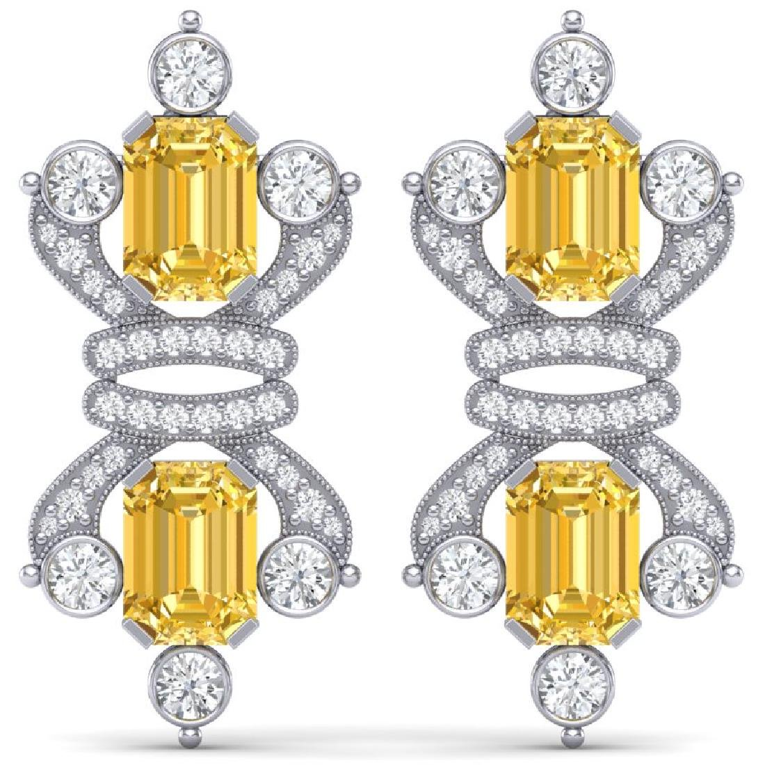 25.35 CTW Royalty Canary Citrine & VS Diamond Earrings