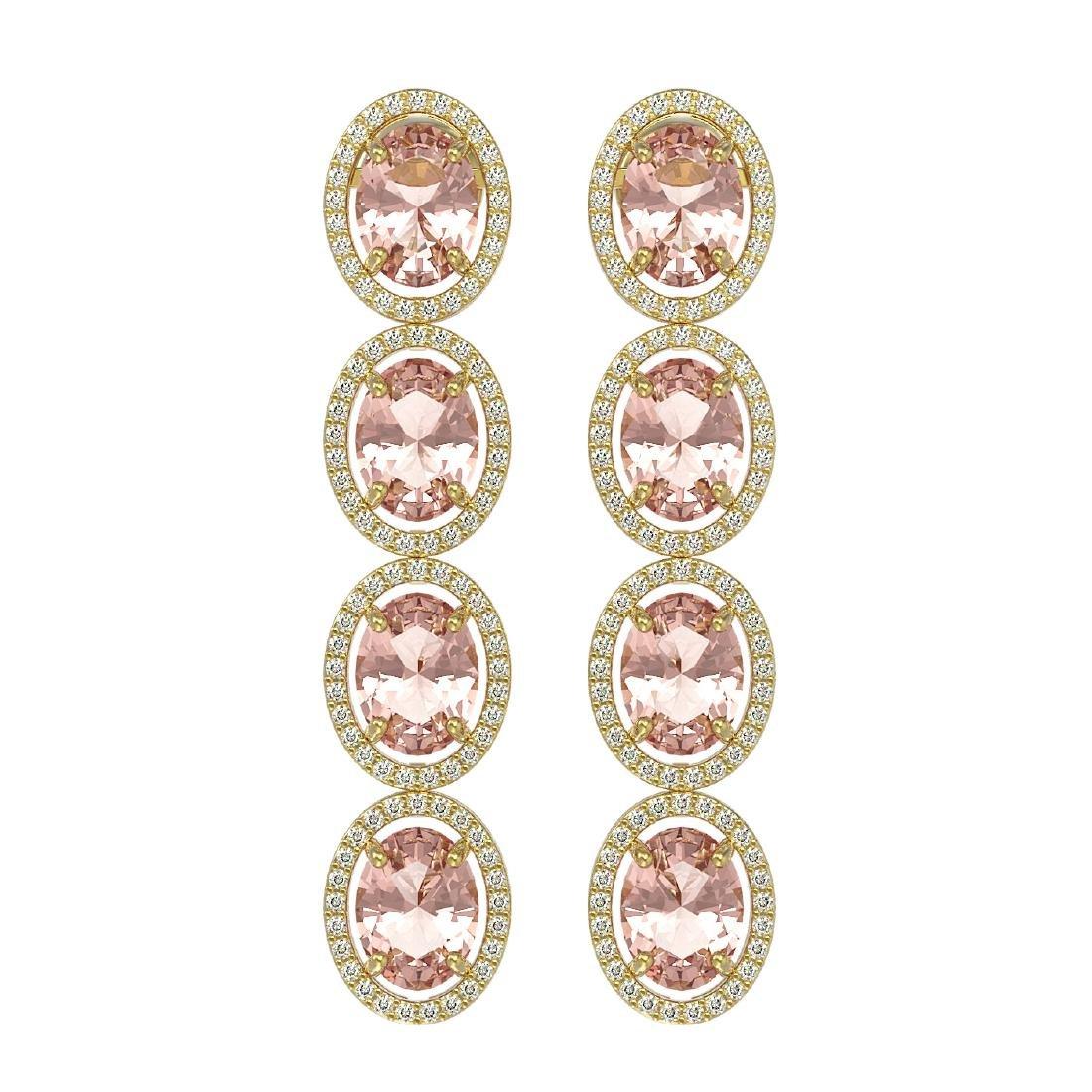 11.4 CTW Morganite & Diamond Halo Earrings 10K Yellow