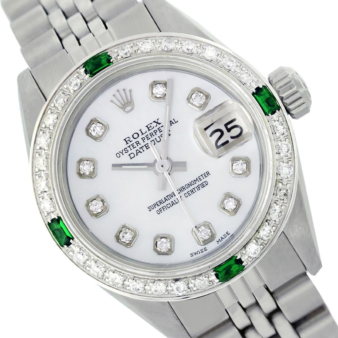 Rolex Ladies Stainless Steel, Diam Dial & Diam/Emerald