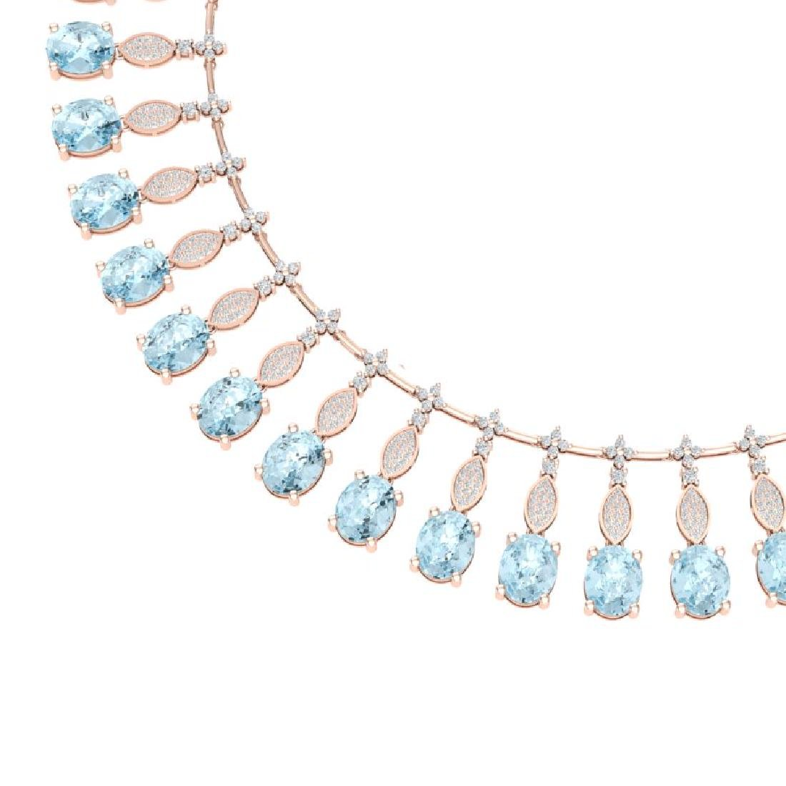 65.76 CTW Royalty Sky Topaz & VS Diamond Necklace 18K