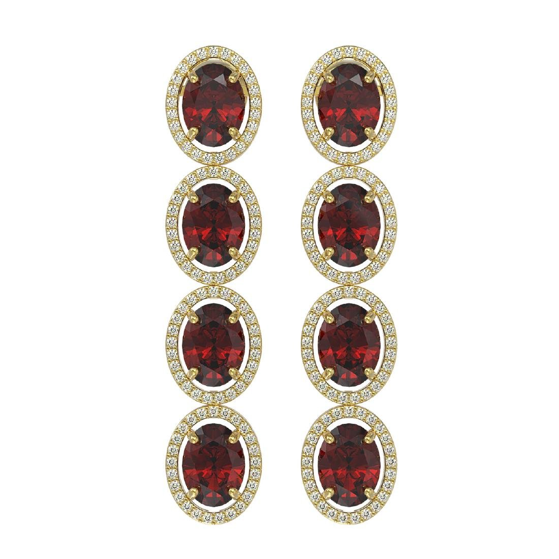 13.64 CTW Garnet & Diamond Halo Earrings 10K Yellow