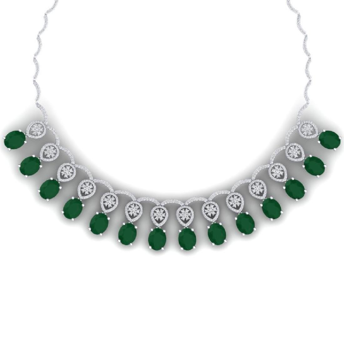 54.05 CTW Royalty Emerald & VS Diamond Necklace 18K
