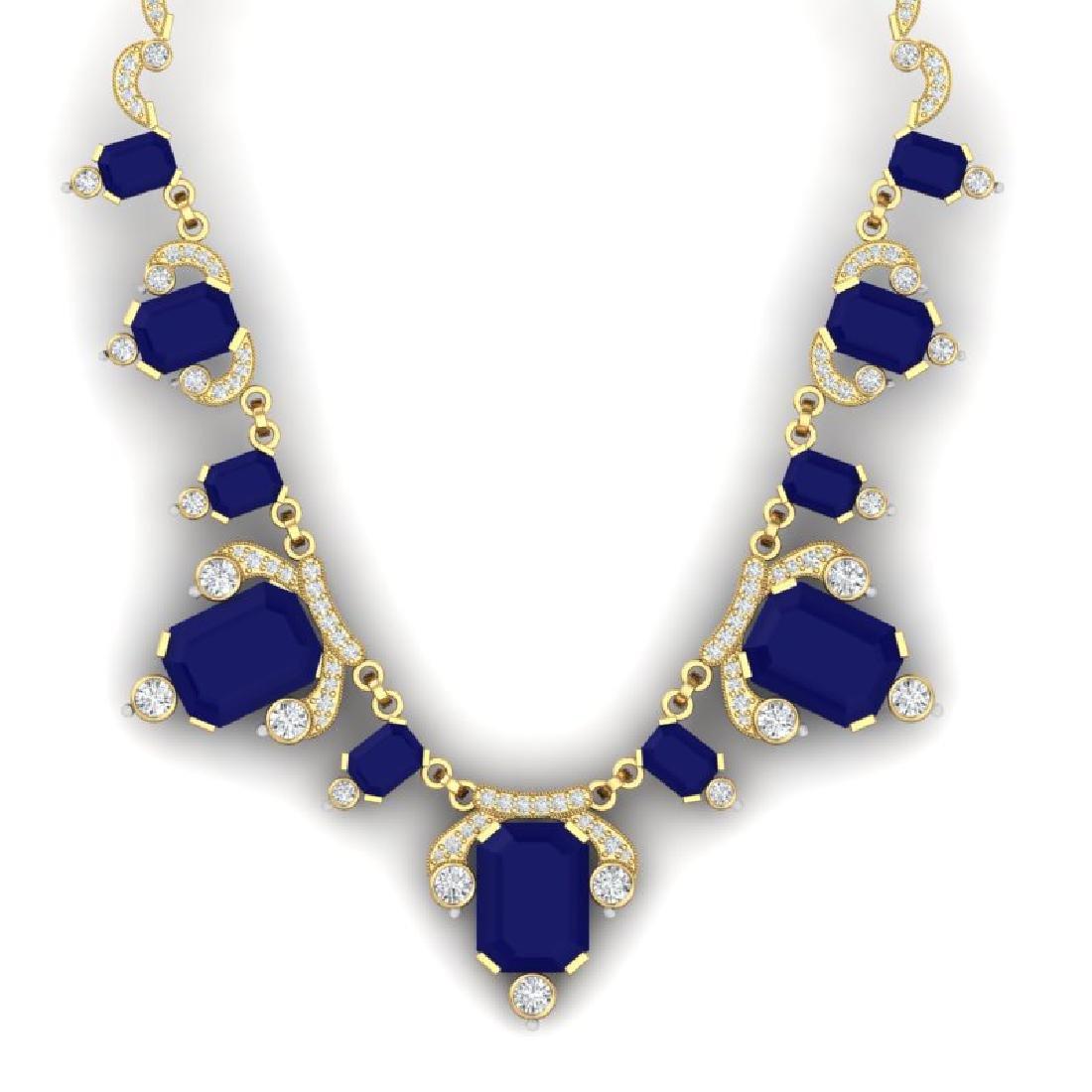 75.21 CTW Royalty Sapphire & VS Diamond Necklace 18K