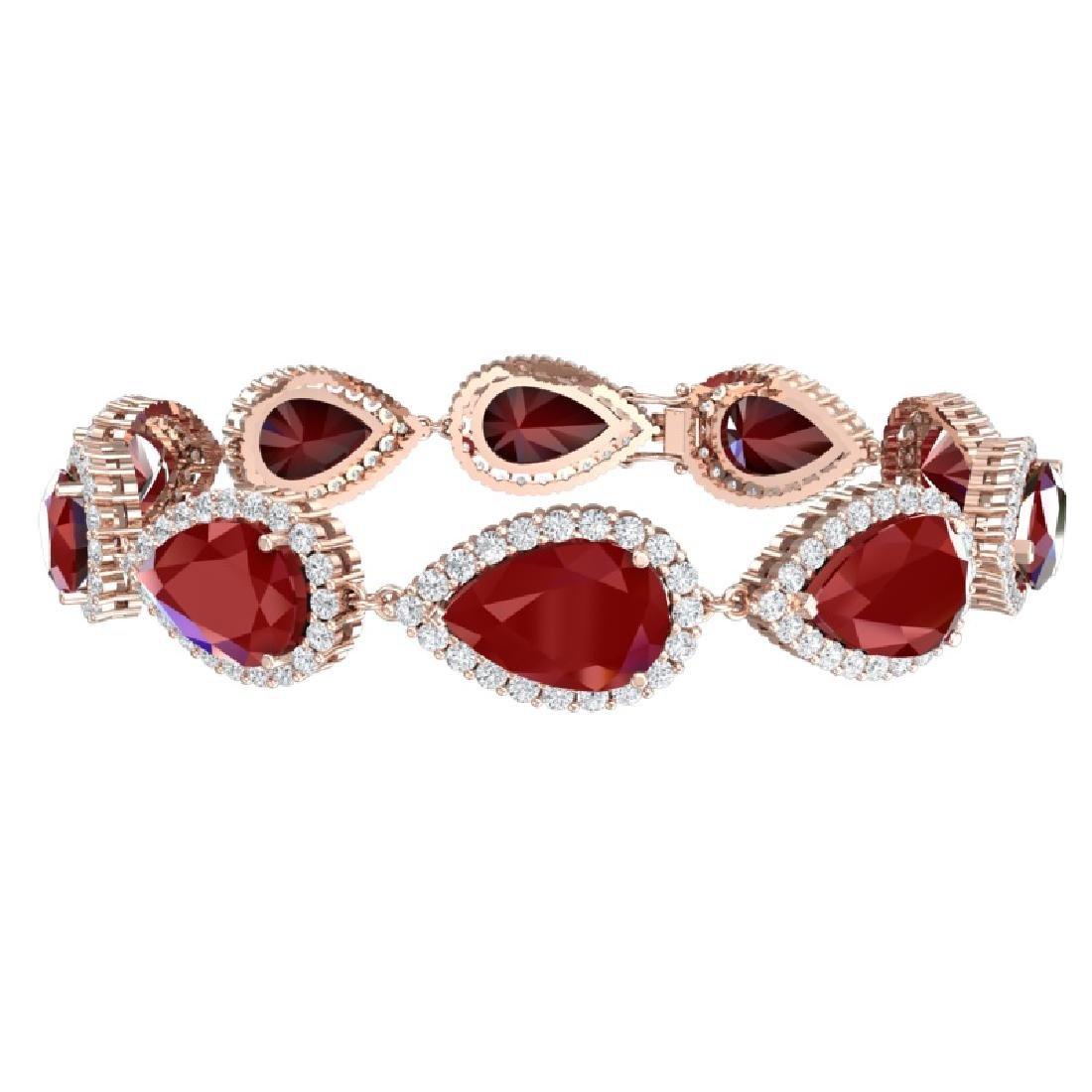 42 CTW Royalty Designer Ruby & VS Diamond Bracelet 18K - 3