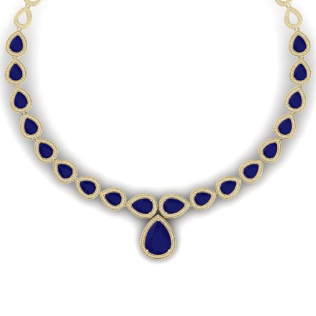 51.41 CTW Royalty Sapphire & VS Diamond Necklace 18K