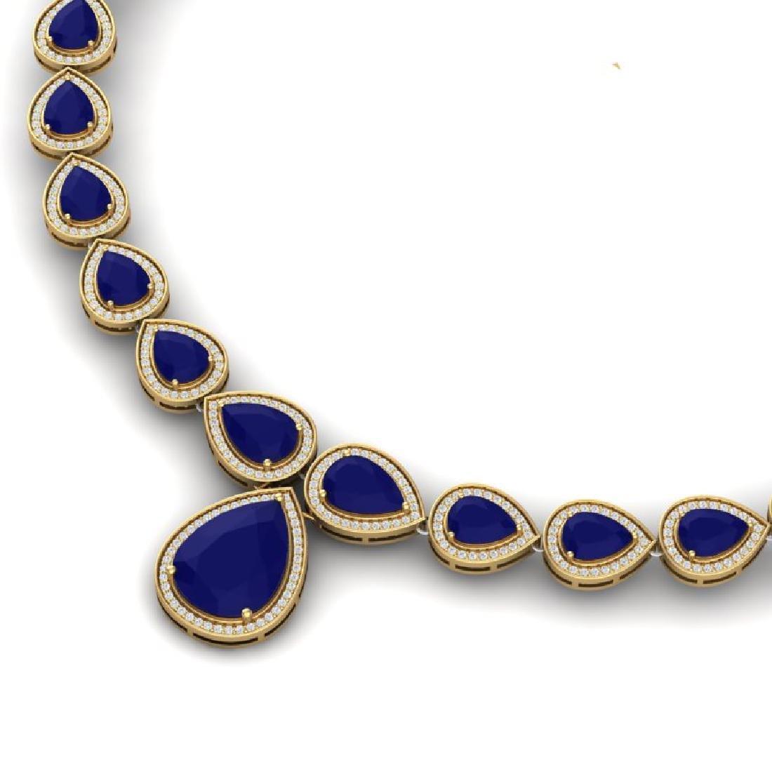 51.41 CTW Royalty Sapphire & VS Diamond Necklace 18K - 2