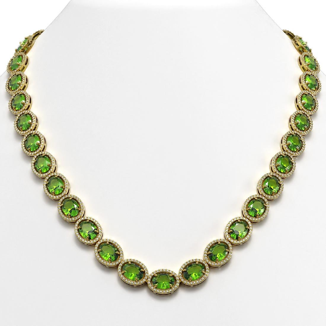 64.84 CTW Peridot & Diamond Halo Necklace 10K Yellow