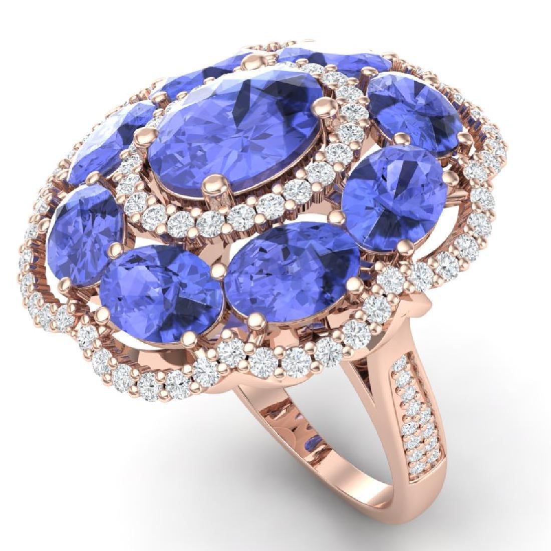 15.24 CTW Royalty Tanzanite & VS Diamond Ring 18K Rose