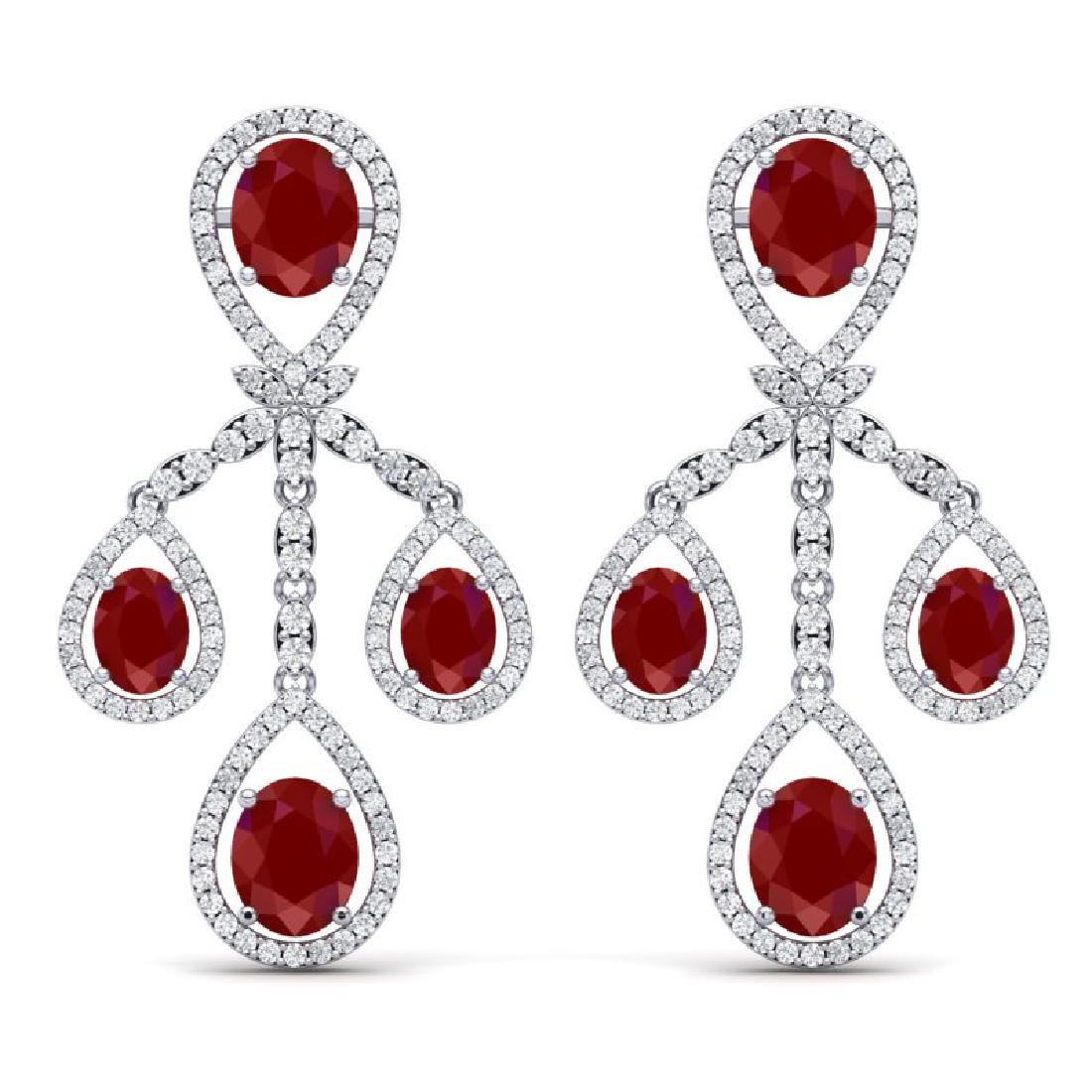 25.08 CTW Royalty Designer Ruby & VS Diamond Earrings