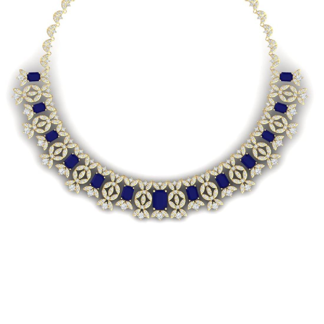 50.44 CTW Royalty Sapphire & VS Diamond Necklace 18K
