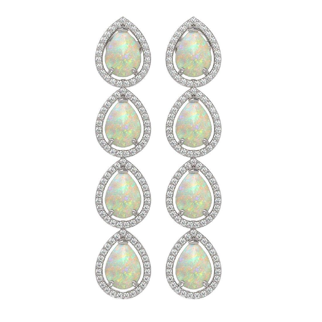 9.12 CTW Opal & Diamond Halo Earrings 10K White Gold