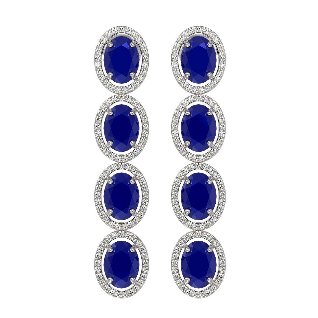 15.68 CTW Sapphire & Diamond Halo Earrings 10K White