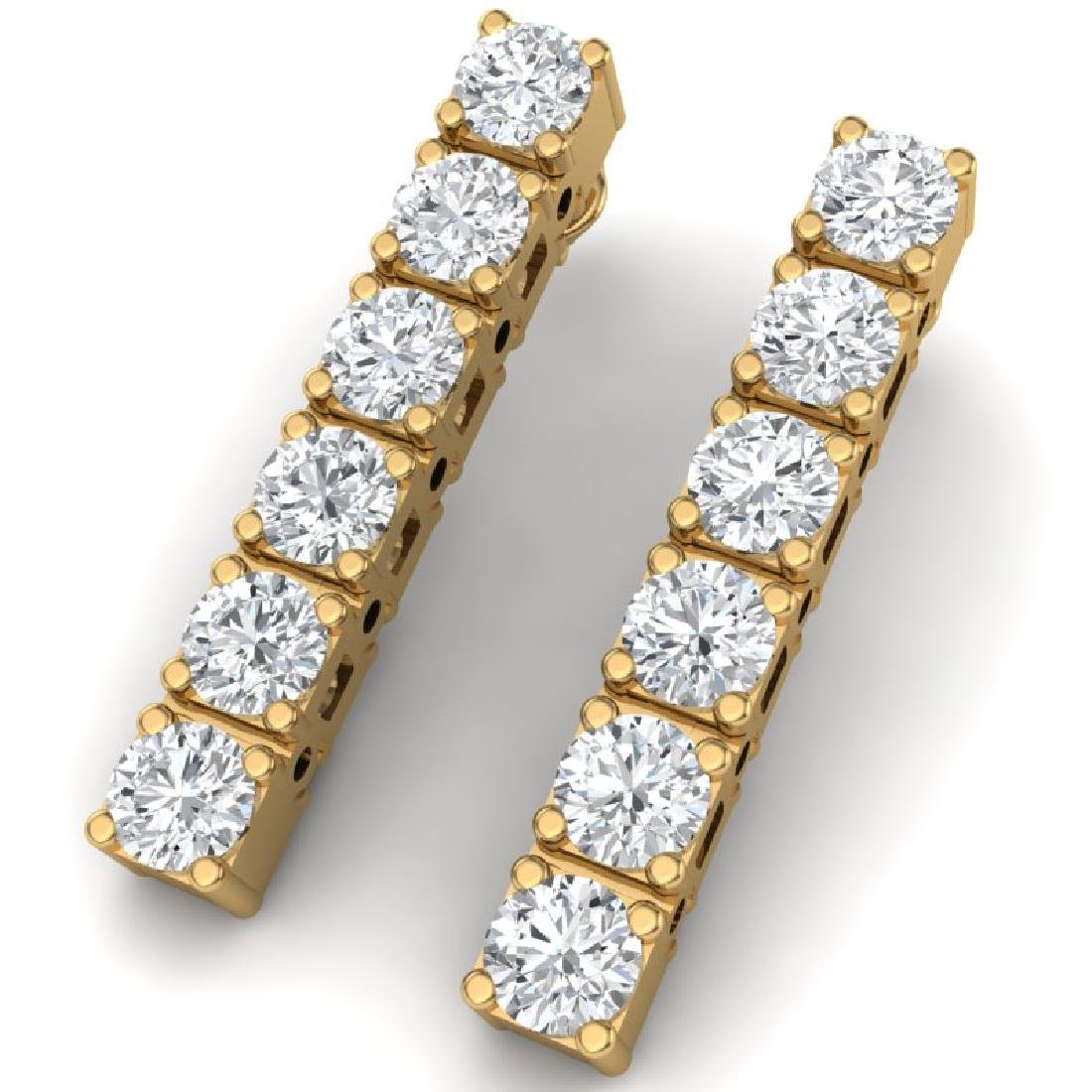 6 CTW Certified SI Diamond Earrings 18K Yellow Gold