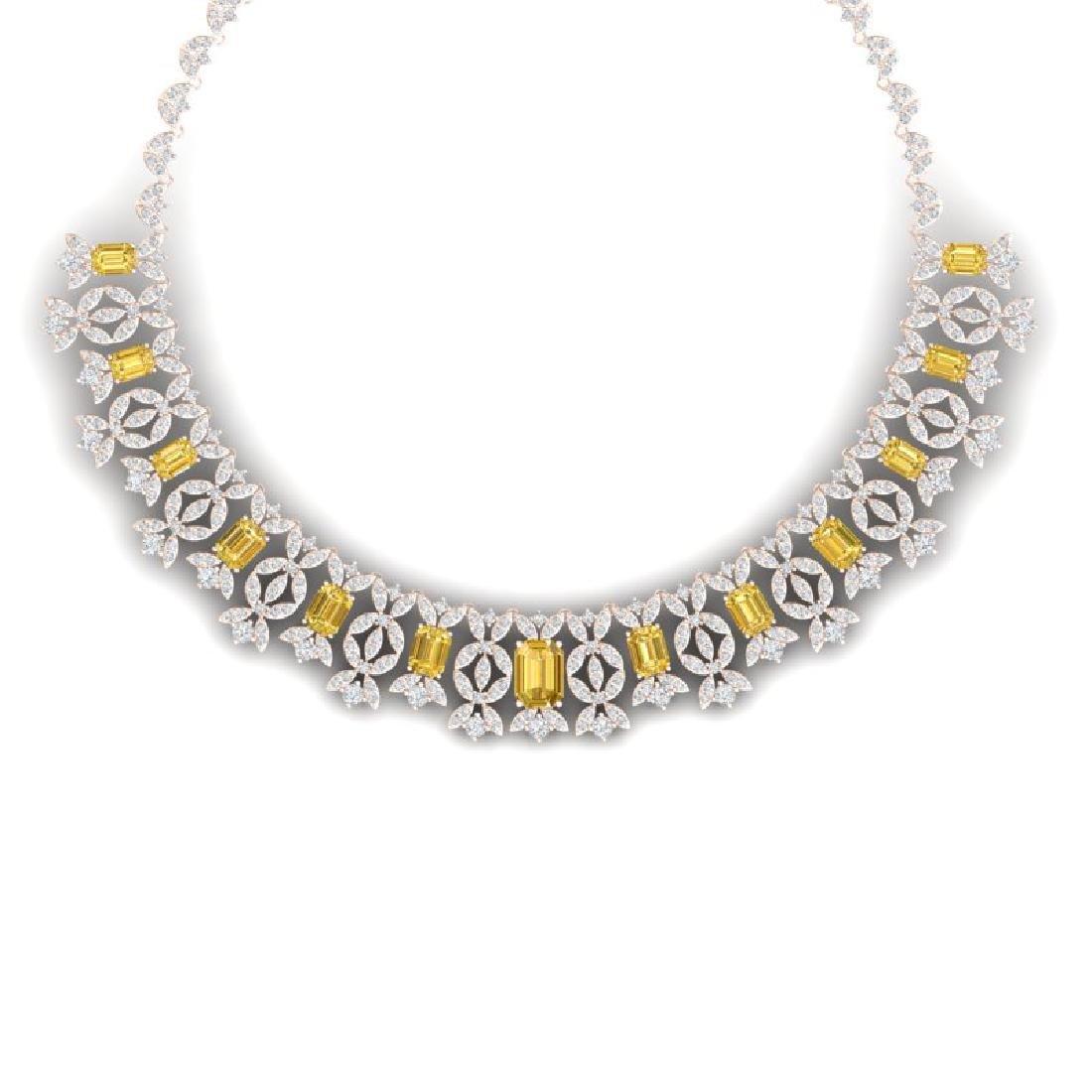 46.38 CTW Royalty Canary Citrine & VS Diamond Necklace