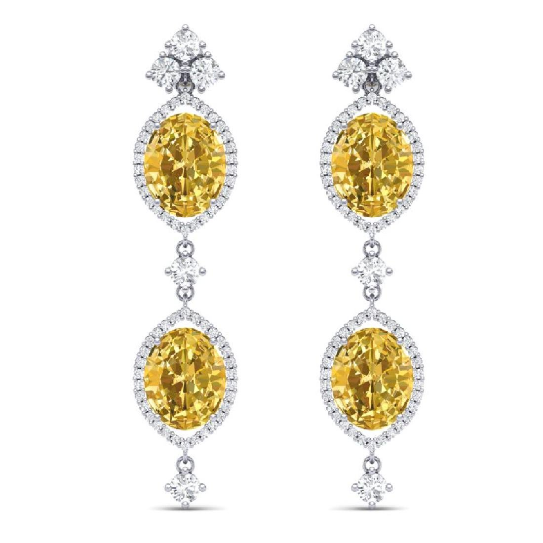 12.21 CTW Royalty Canary Citrine & VS Diamond Earrings