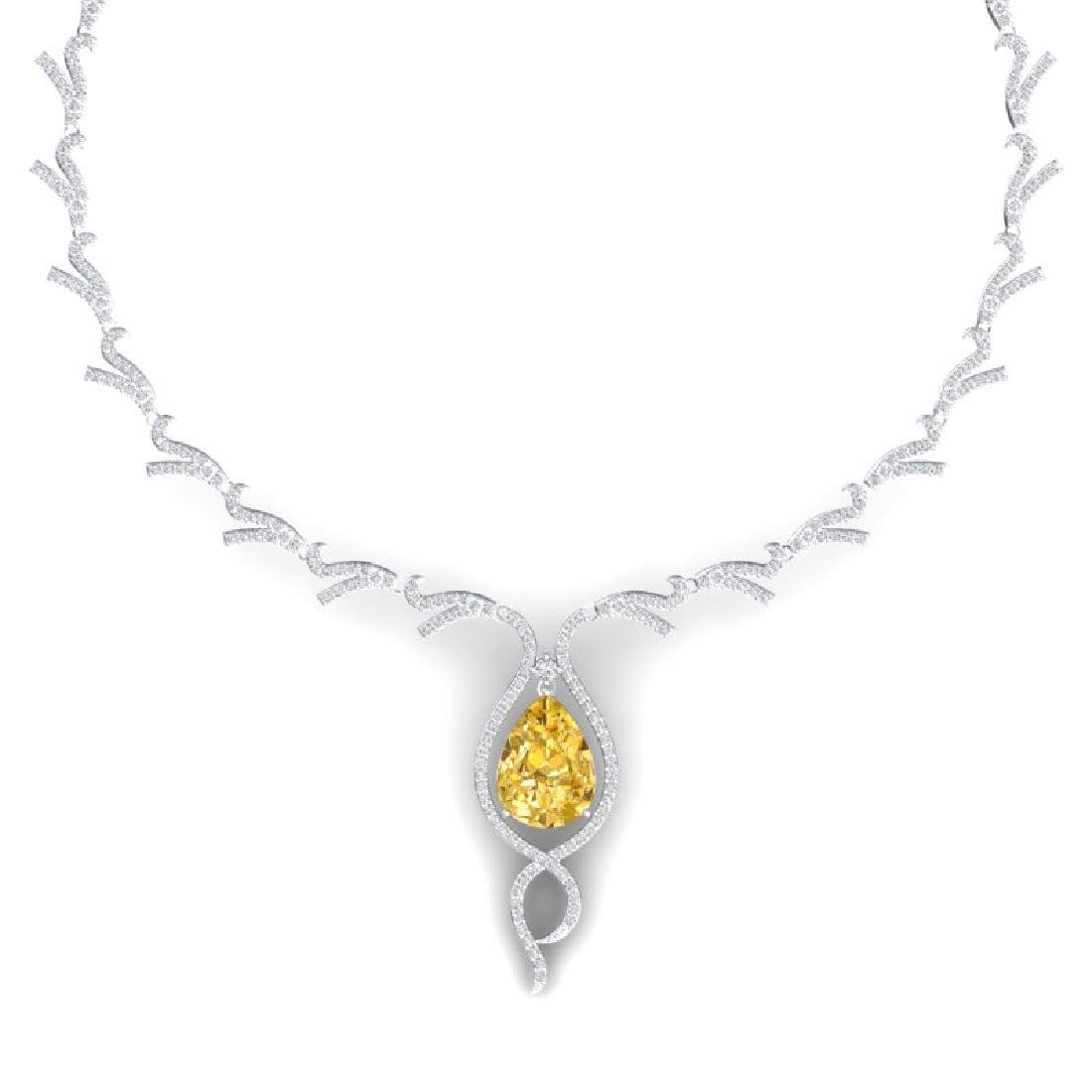 23.02 CTW Royalty Canary Citrine & VS Diamond Necklace