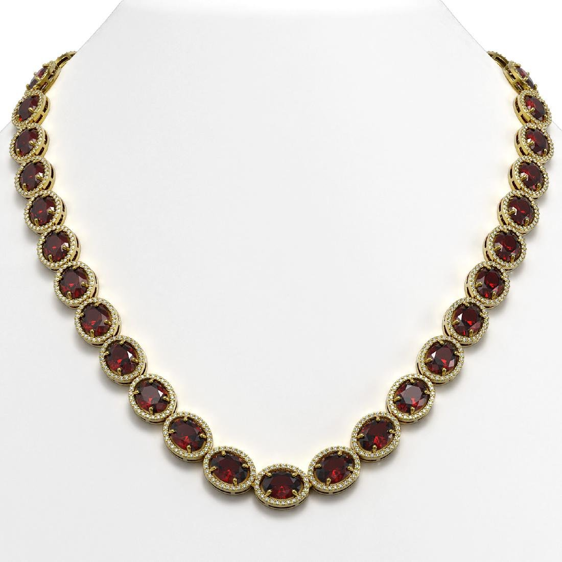 62.99 CTW Garnet & Diamond Halo Necklace 10K Yellow