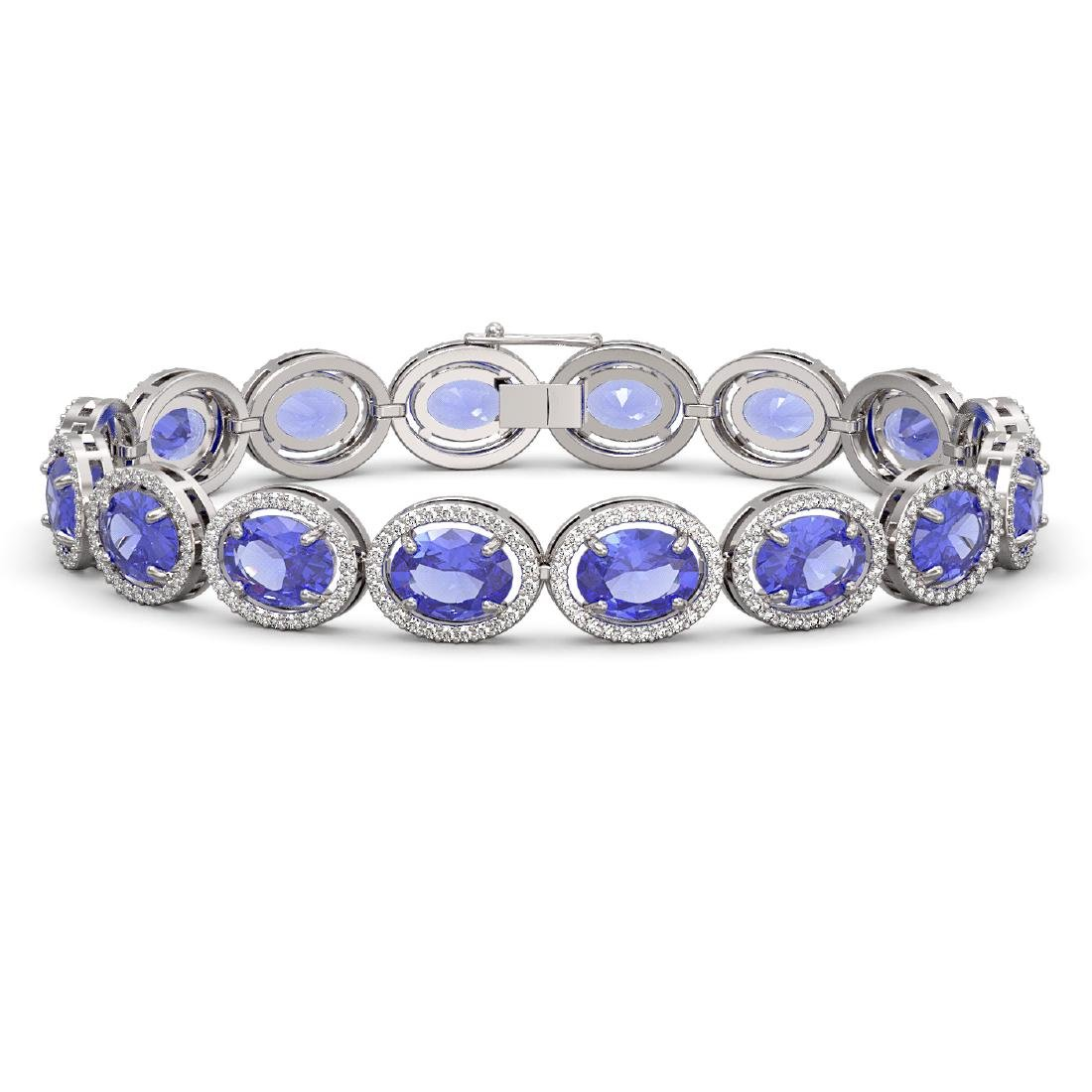 27.28 CTW Tanzanite & Diamond Halo Bracelet 10K White