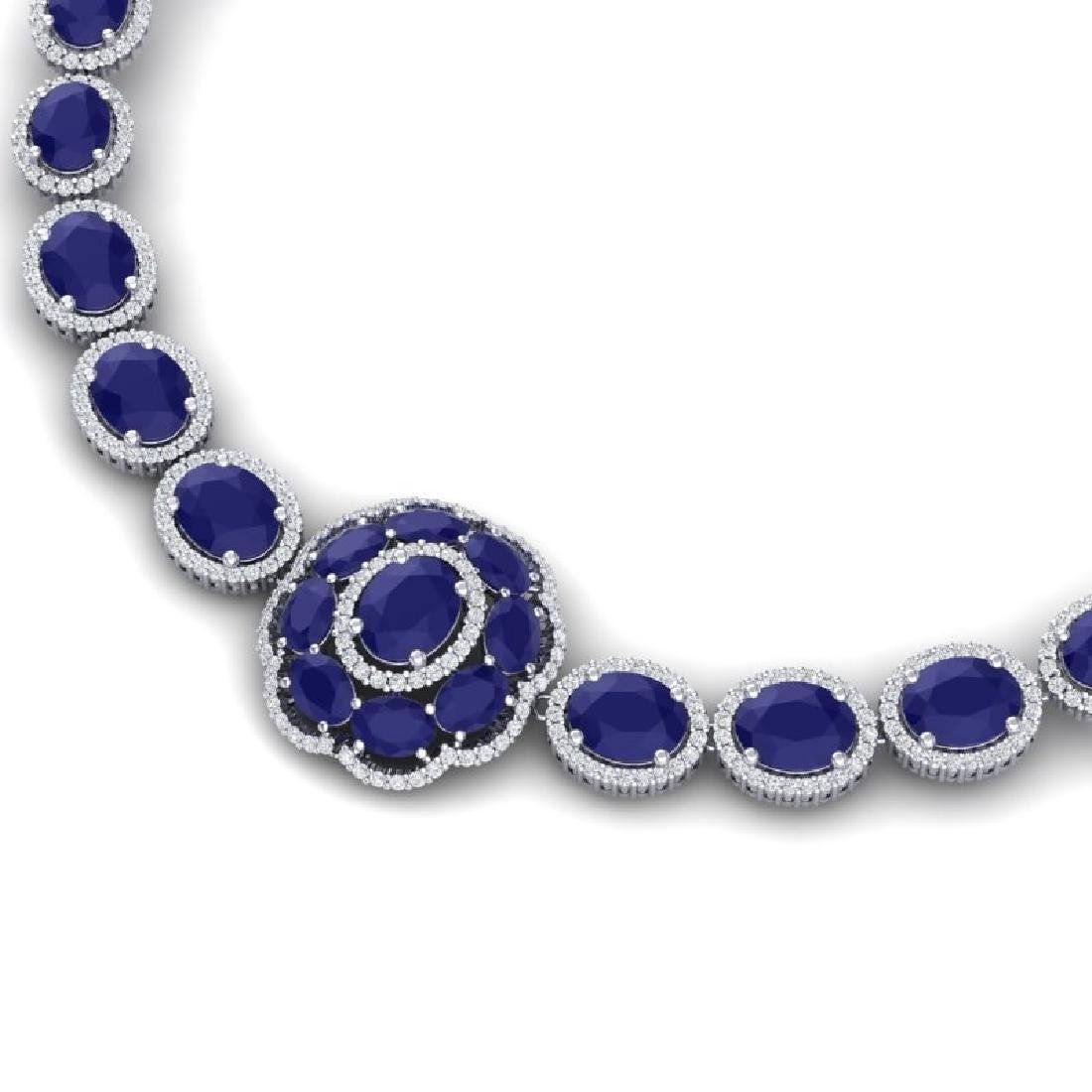 58.33 CTW Royalty Sapphire & VS Diamond Necklace 18K