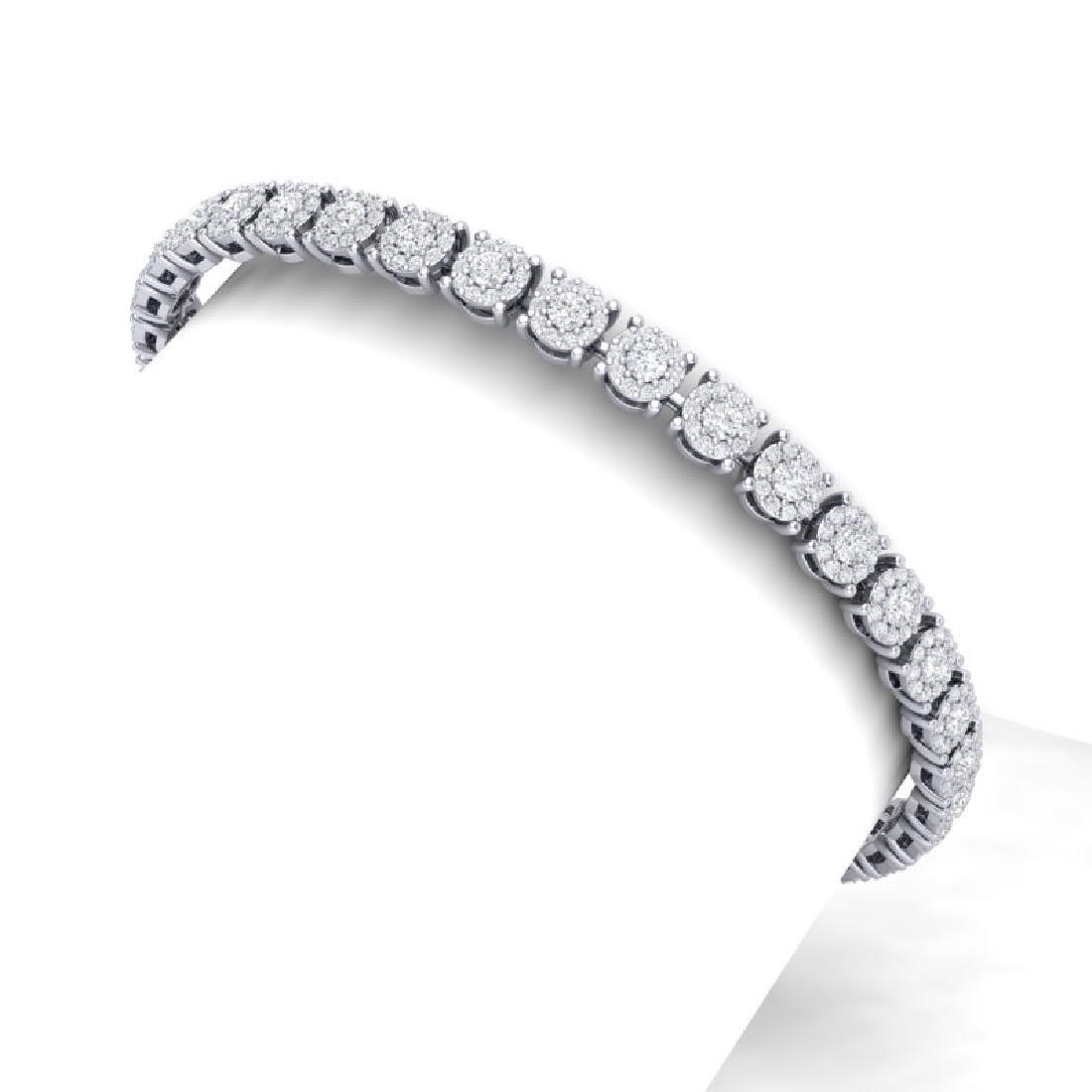 5 CTW Certified SI/I Diamond Halo Bracelet 18K White