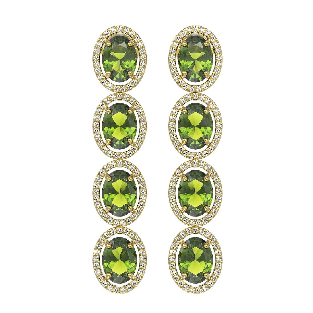 11.8 CTW Tourmaline & Diamond Halo Earrings 10K Yellow