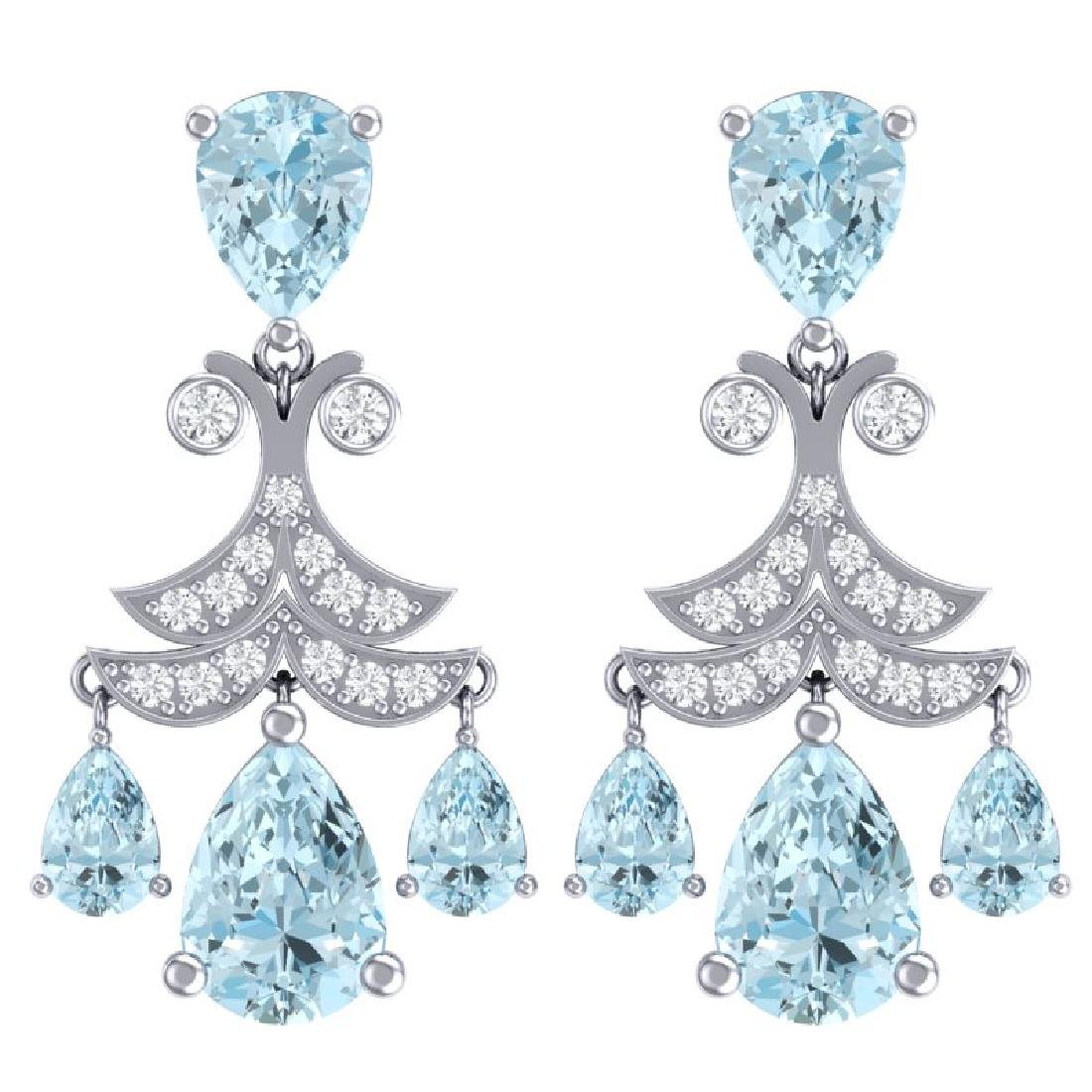 11.35 CTW Royalty Sky Topaz & VS Diamond Earrings 18K